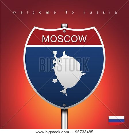 An Sign Road America Style with state of Russia with Red background and message MOSCOW and map vector art image illustration