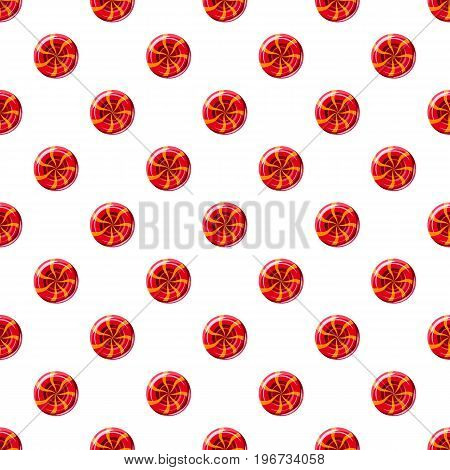 Red sweet lollipop candie pattern seamless repeat in cartoon style vector illustration