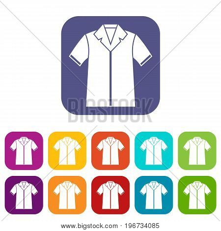 Shirt polo icons set vector illustration in flat style in colors red, blue, green, and other