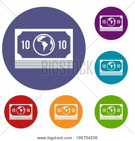 Money stack icons set in flat circle red, blue and green color for web