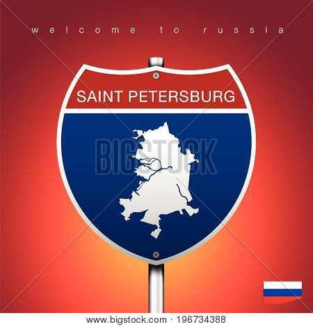 An Sign Road America Style with state of Russia with Red background and message SAINT PETERSBURG and map vector art image illustration