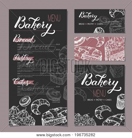Set of bakery shop templates with menu, visit cards and reserved card based on sketch and lettering. Includes apple pie, black forest cake, muffin, doughnut and croissant. Ready to use artwork.