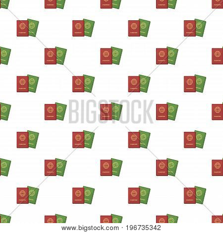 Two passports in red and green colors pattern seamless repeat in cartoon style vector illustration