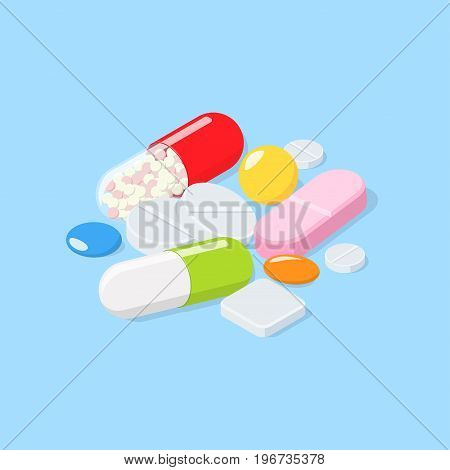 Different medical pills, tablets. Isometric vector illustration
