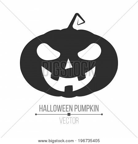 Abstract cartoon black Halloween pumpkin. Evil plant. Isolated on white background. Vector illustration in a flat style