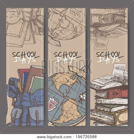 Three color banners with hand drawn school related sketch. Features backpack, globe, book stack. School memories collection. Great for school, education, book shop, retro design.