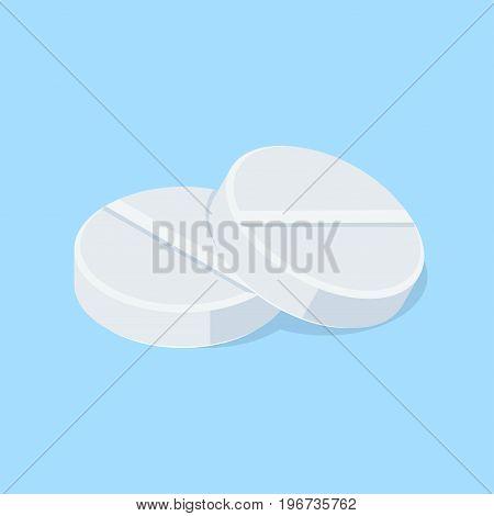 Pair of medical tablets. pills. Isometric vector illustration