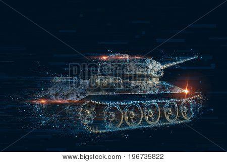 Pixel distortion of the combat vehicle. Pixel concept tank