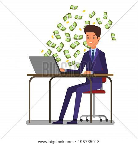Concept of big money. Make money on the Internet. Businessman is sitting in front of the computer with money banknotes is flying around. Flat design, vector illustration.