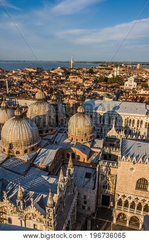 Aerial panoramic view of Venice city at dusk Italy