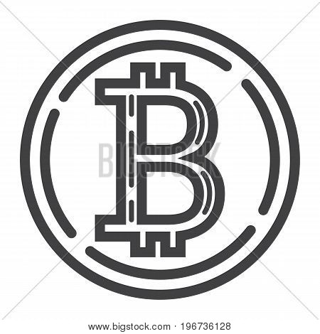 Bitcoin coin line icon, business and finance, virtual money sign vector graphics, a linear pattern on a white background, eps 10.