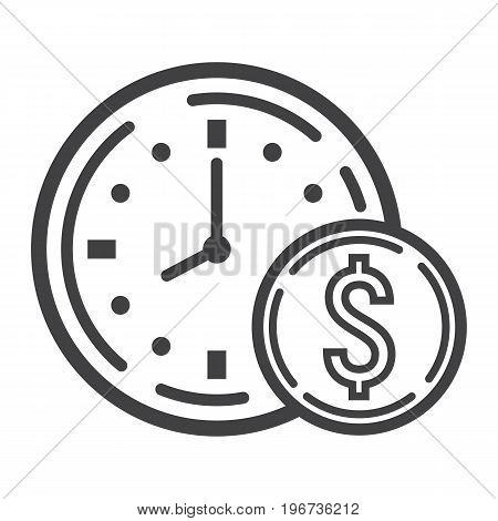 Time Is Money line icon, business and finance, coin sign vector graphics, a linear pattern on a white background, eps 10.
