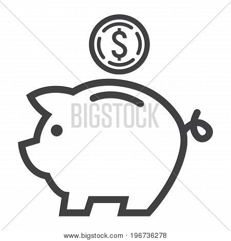 Piggy Bank line icon, business and finance, bank sign vector graphics, a linear pattern on a white background, eps 10.