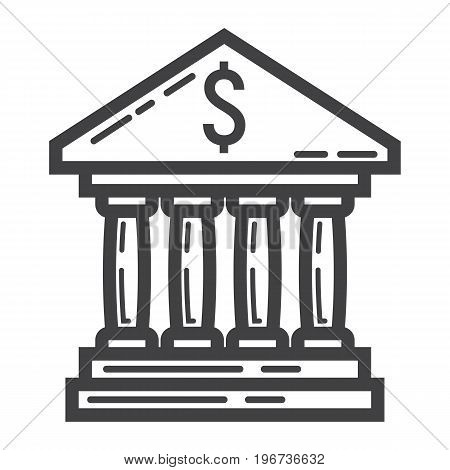Bank building line icon, business and finance, dollar sign vector graphics, a linear pattern on a white background, eps 10.
