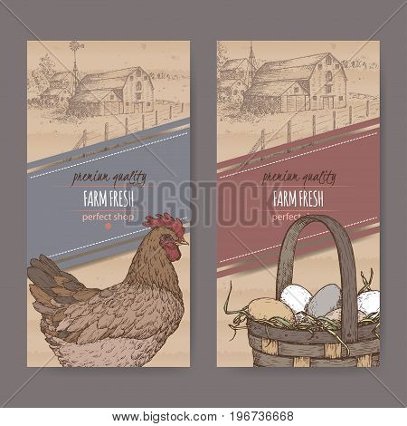 Set of two farm fresh labels with farmhouse, color chicken and eggs in wicker basket on cardboard texture. Includes hand drawn elements.