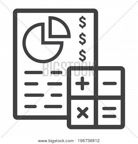 Budget planing line icon, business and finance, calculate sign vector graphics, a linear pattern on a white background, eps 10.