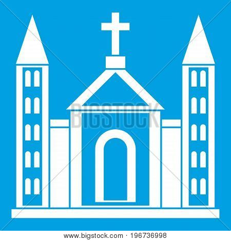 Christian catholic church building icon white isolated on blue background vector illustration