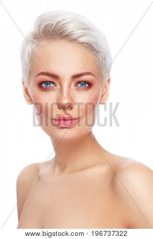 Young beautiful blonde woman with clean fresh make-up