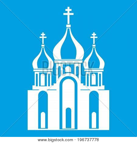 Church building icon white isolated on blue background vector illustration
