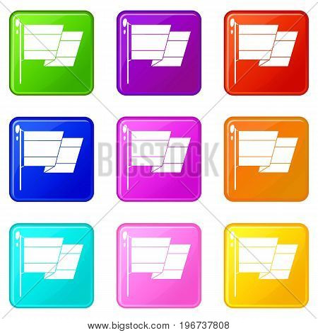 Flag of Spain icons of 9 color set isolated vector illustration