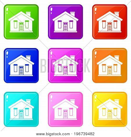 House icons of 9 color set isolated vector illustration