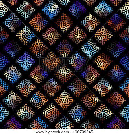 Seamless background. Mosaic art pattern of small circles. Polka dot pattern.