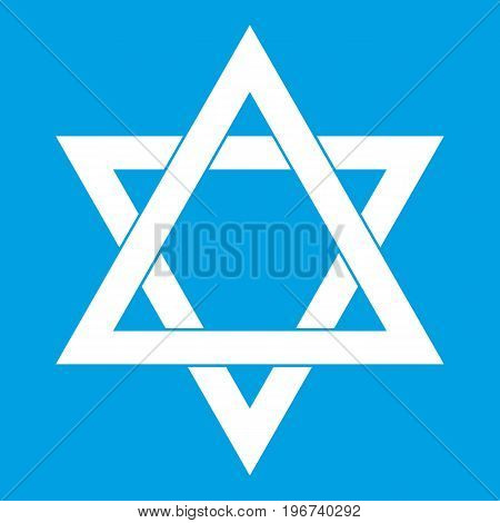Star of David icon white isolated on blue background vector illustration