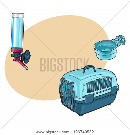 Plastic pet travel carrier, feeding bowl and refillable drinker, sketch vector illustration with space for text. Hand drawn plastic pet carrier, bowl and drinker for pet transportation