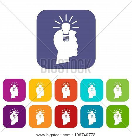 Light bulb idea icons set vector illustration in flat style in colors red, blue, green, and other