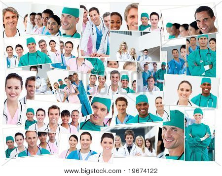 Doctors, Nurses And Surgeons Posing