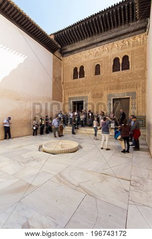 Patio Del Mexuar, Court Of The Council Chamber, In Alhambra, Granada