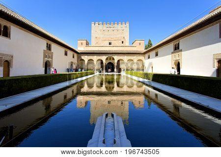 Courtyard Of The Myrtles, Patio De Los Arrayanes, In Alhambra, Granada