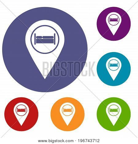 Bed, hostel, hotel sign icons set in flat circle red, blue and green color for web