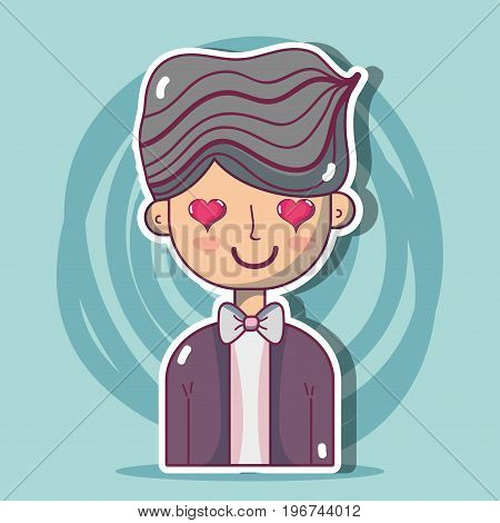 man lover with hairstyle design vector illustration