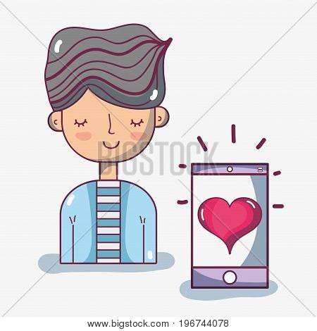 man with hairstyle and smartphone with heart vector illustration