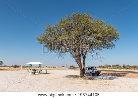 MARIENTAL NAMIBIA - JUNE 14 2017: A shaded resting place next to the B1-road between Mariental and Kalkrand