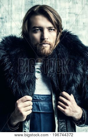 Fashion shot of a stylish brutal bearded man wearing fur coat. Studio shot over grunge background.