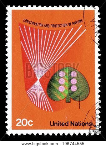 UNITED NATIONS - CIRCA 1982 : Cancelled postage stamp printed by United Nations, that promotes Protecting nature.