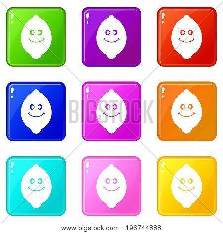 Smiling lemon fruit icons of 9 color set isolated vector illustration