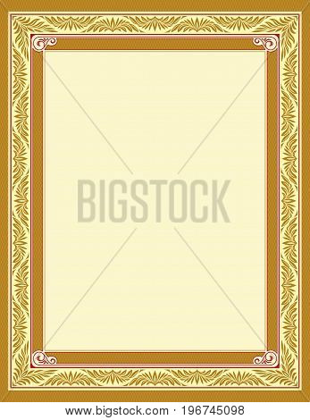 Ornate rectangular framework for page decoration, title, card, label. Golden and red colors, lattice. Letter page proportions.