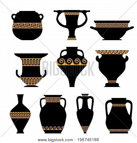 Antique ceramics, silhouettes of amphorae, pitchers and bowls, isolated vector elements