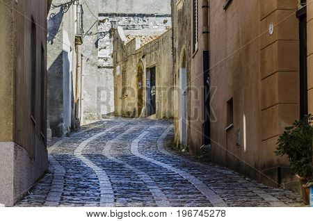 The streets of the old erice are distinguished by their cobblestone patterns