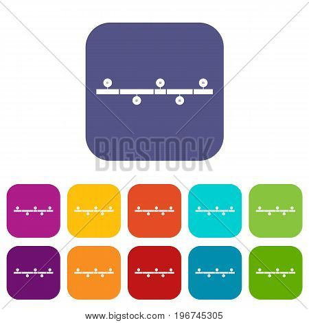 Timeline infographic icons set vector illustration in flat style in colors red, blue, green, and other