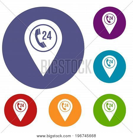 Map pointer with phone handset sign icons set in flat circle red, blue and green color for web