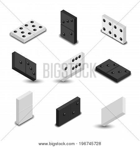 Set of game icons. Black and white items for play of dominoes with shadow. 3D isometric style vector illustration.