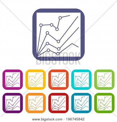 Financial statistics icons set vector illustration in flat style in colors red, blue, green, and other