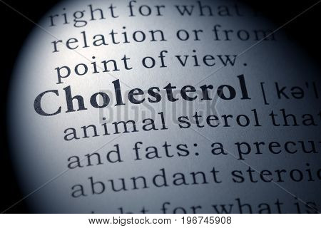 Fake Dictionary Dictionary definition of the word cholesterol.