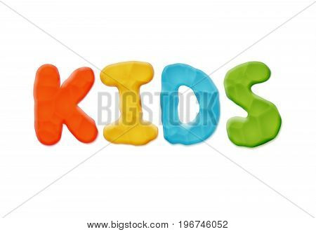 Color Vector Hand Made Kids Logo Template. Realistic Modeling Clay Material
