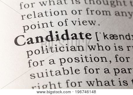 Fake Dictionary Dictionary definition of the word candidate.