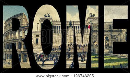 Word Rome from famous roman sights